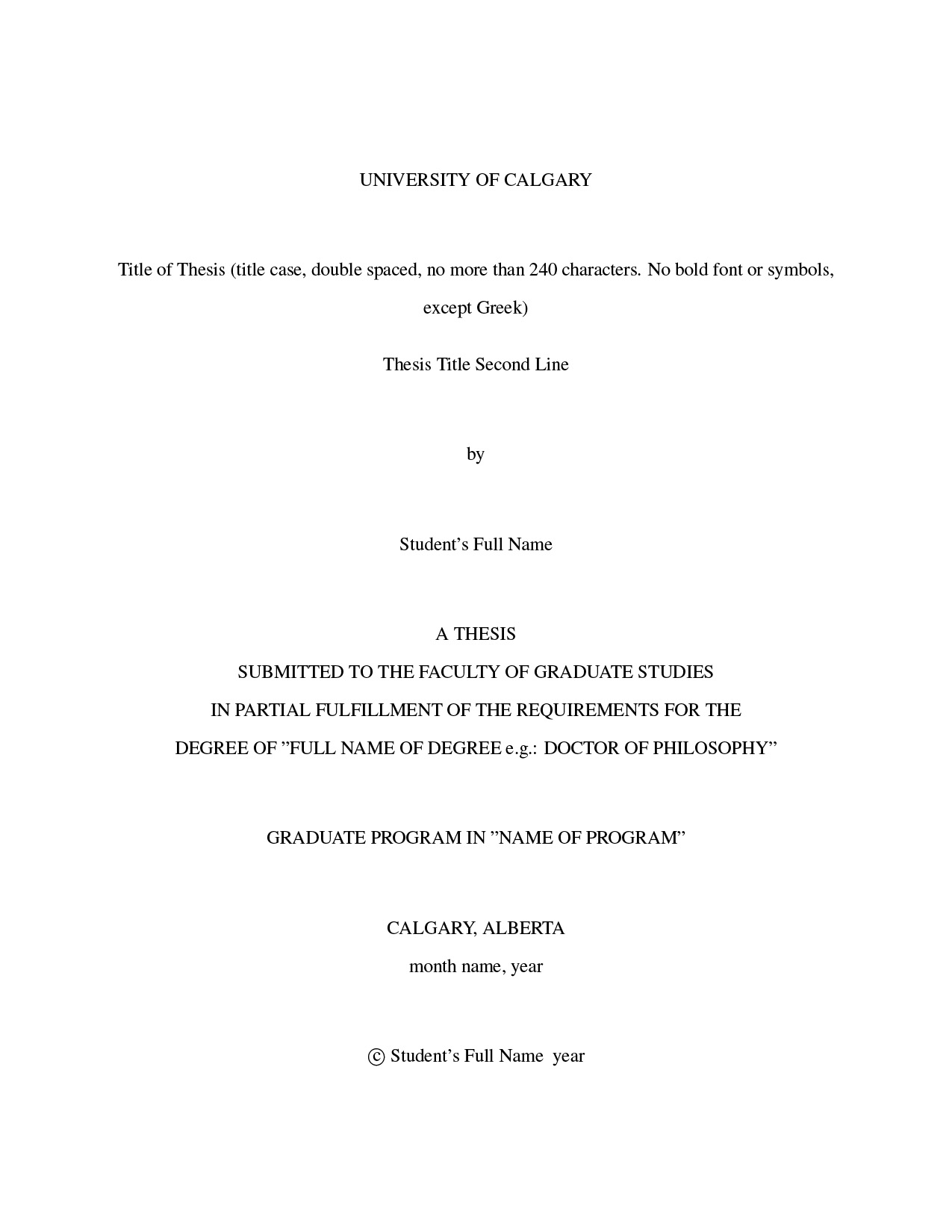 university of calgary latex thesis template